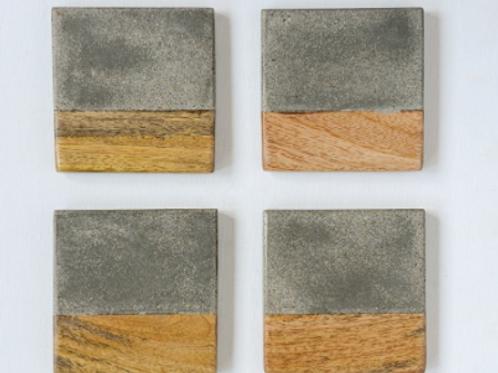 Concrete + Wood Coasters