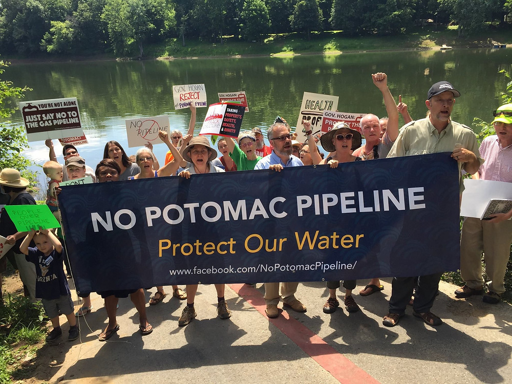 Protestors against the Potomac Pipeline