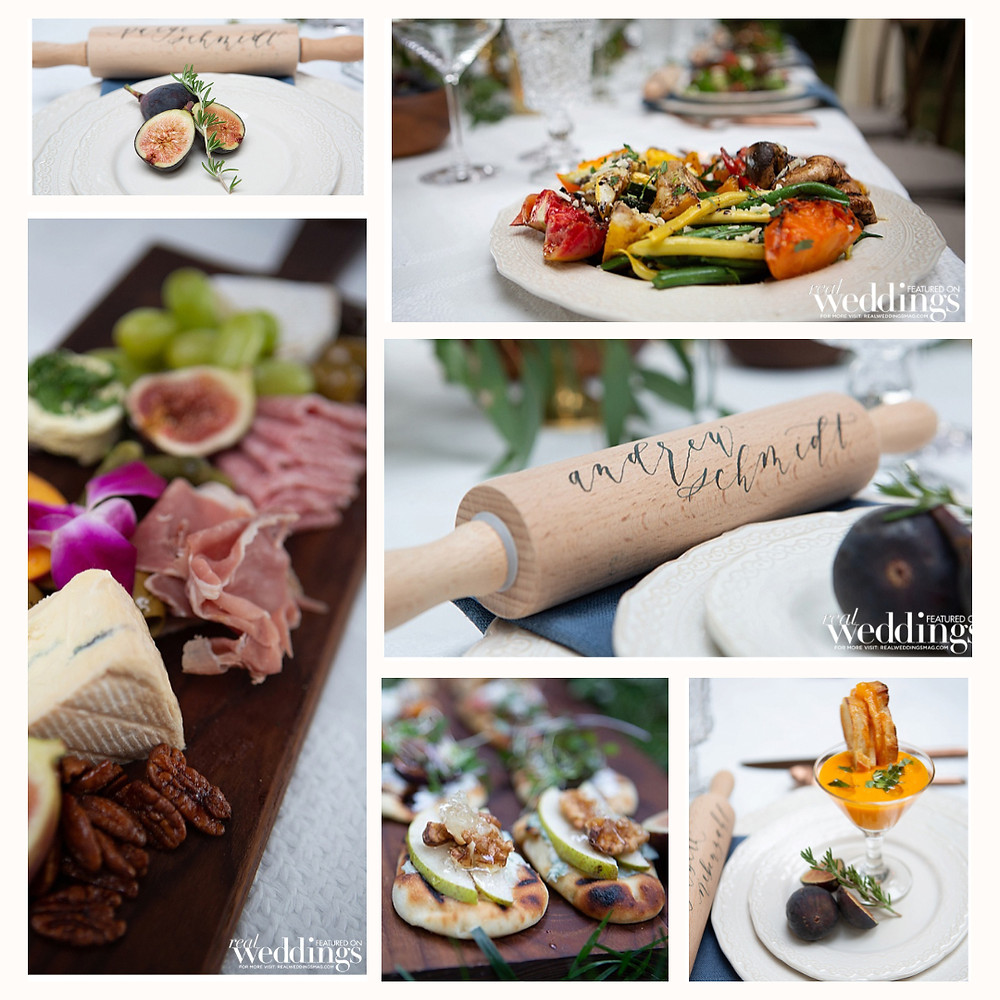 Collage of appetizers, entree and place card rolling pins
