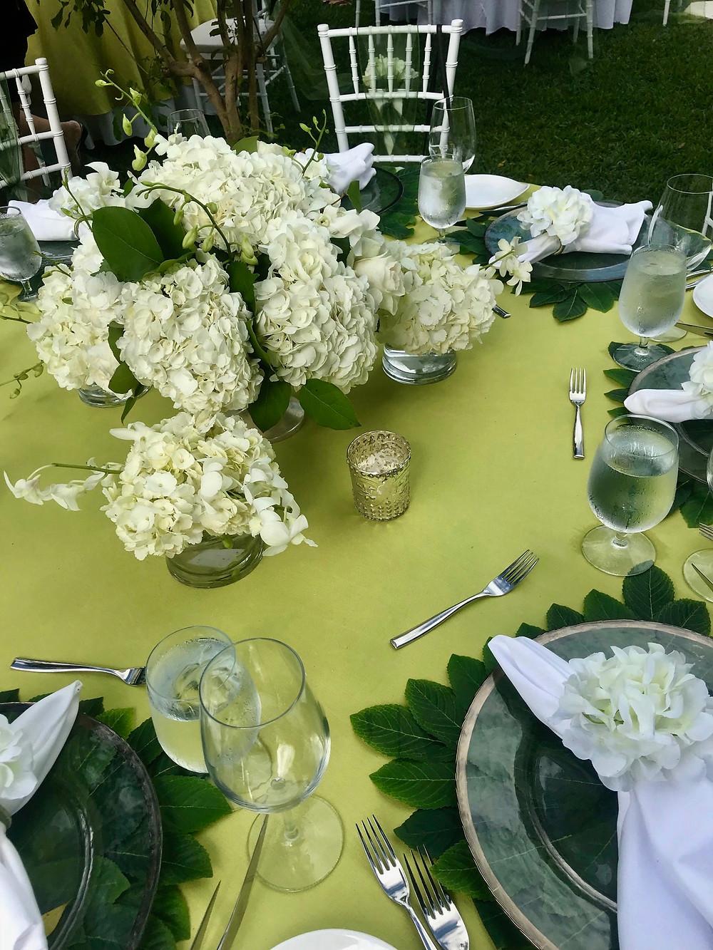 Outdoor reception at Sandals Royal Barbados - centerpiece detail