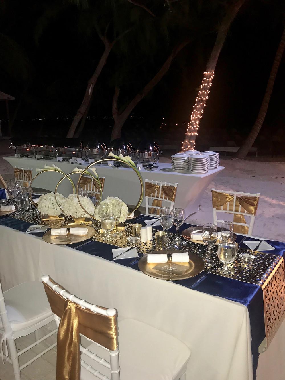 Outdoor wedding dinner reception at Sandals Royal Barbados