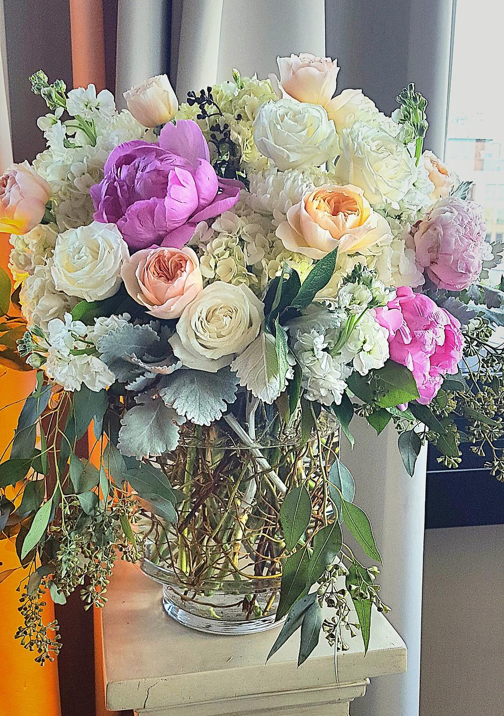 romantic floral arrangement by Visual Impact Design