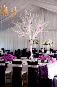Tall White tree centerpieces by Visual Impact Design | Carmen Salazar Photography