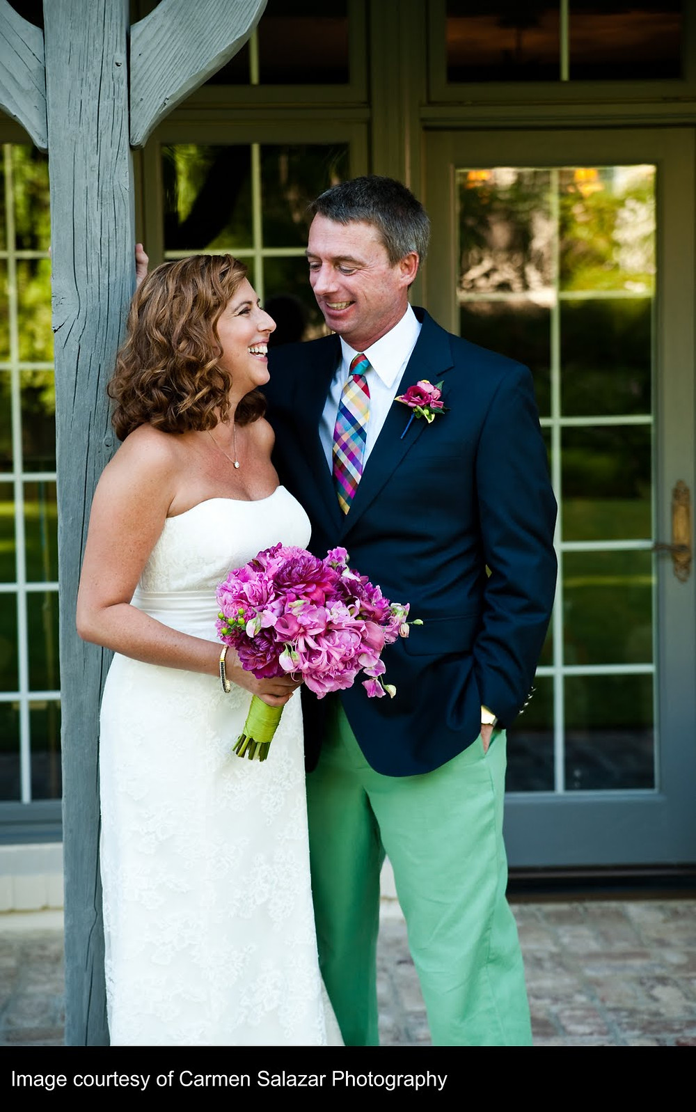 Fuchsia pink bouquet and boutonniere by Visual Impact Design | Carmen Salazar Photography