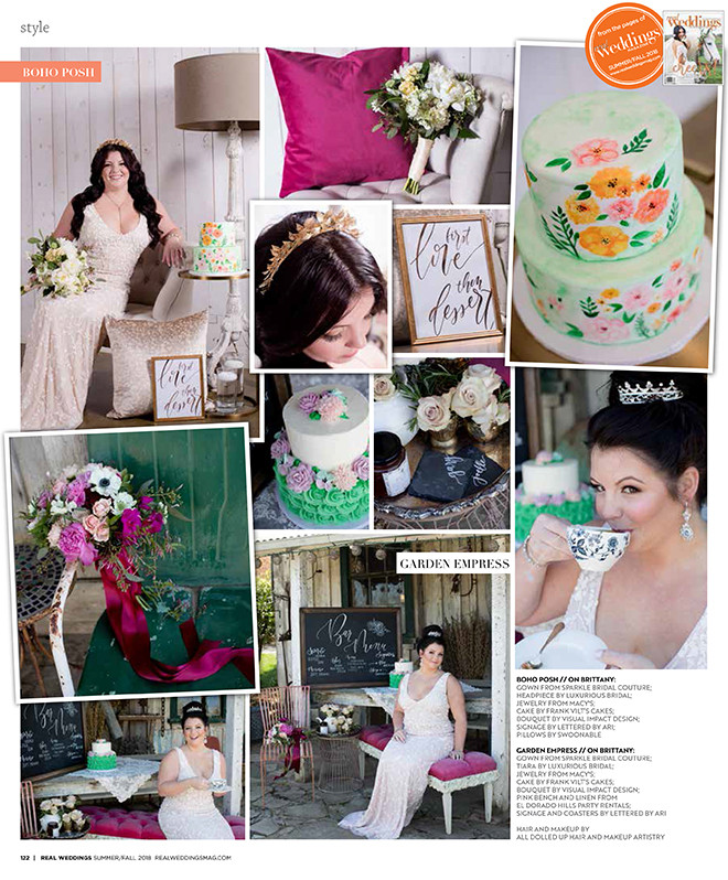 Real Weddings Magazine layout: One Dress Two Ways