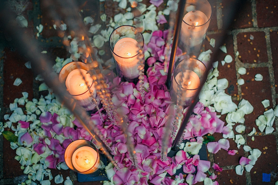 Lavender Love and Candlelight at The Firehouse: Natalie + Luke. Ceremony floral design and decor by Visual Impact Design. Kris Holland Photography.