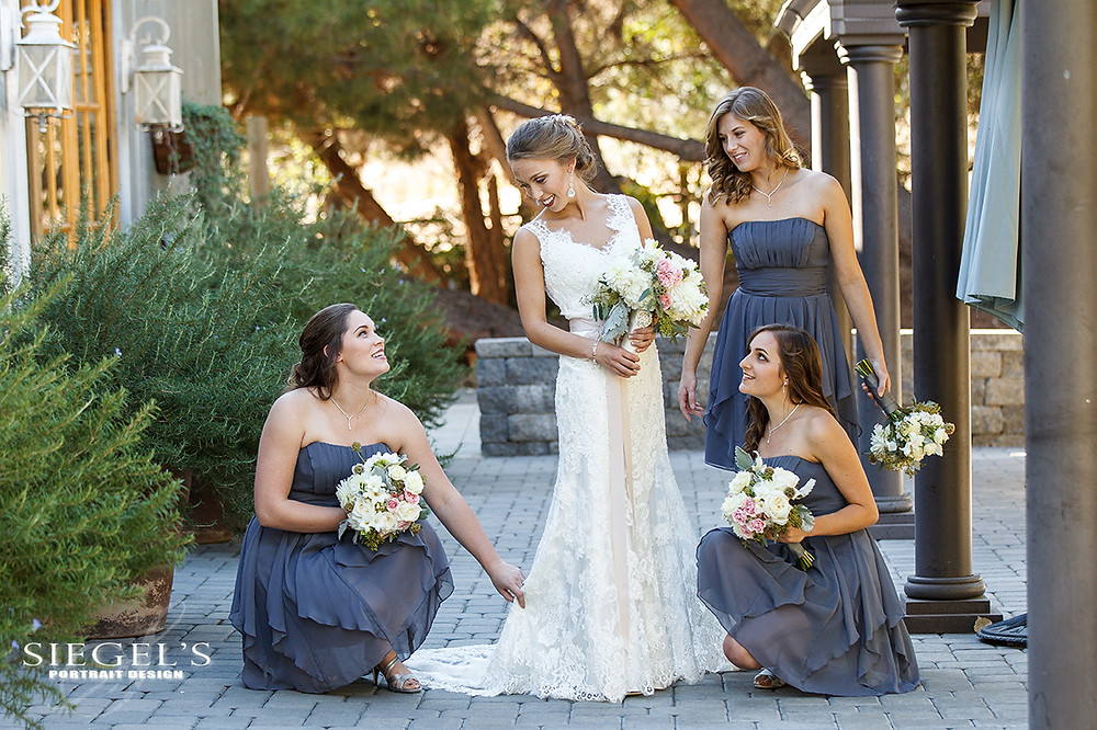 Garden Romance | Alyssa + Adam | Bridal Bouquet and Bridesmaids' Bouquets by Visual Impact Design | Photo by Siegel's Portrait Design | Venue: Newcastle Wedding Gardens, California