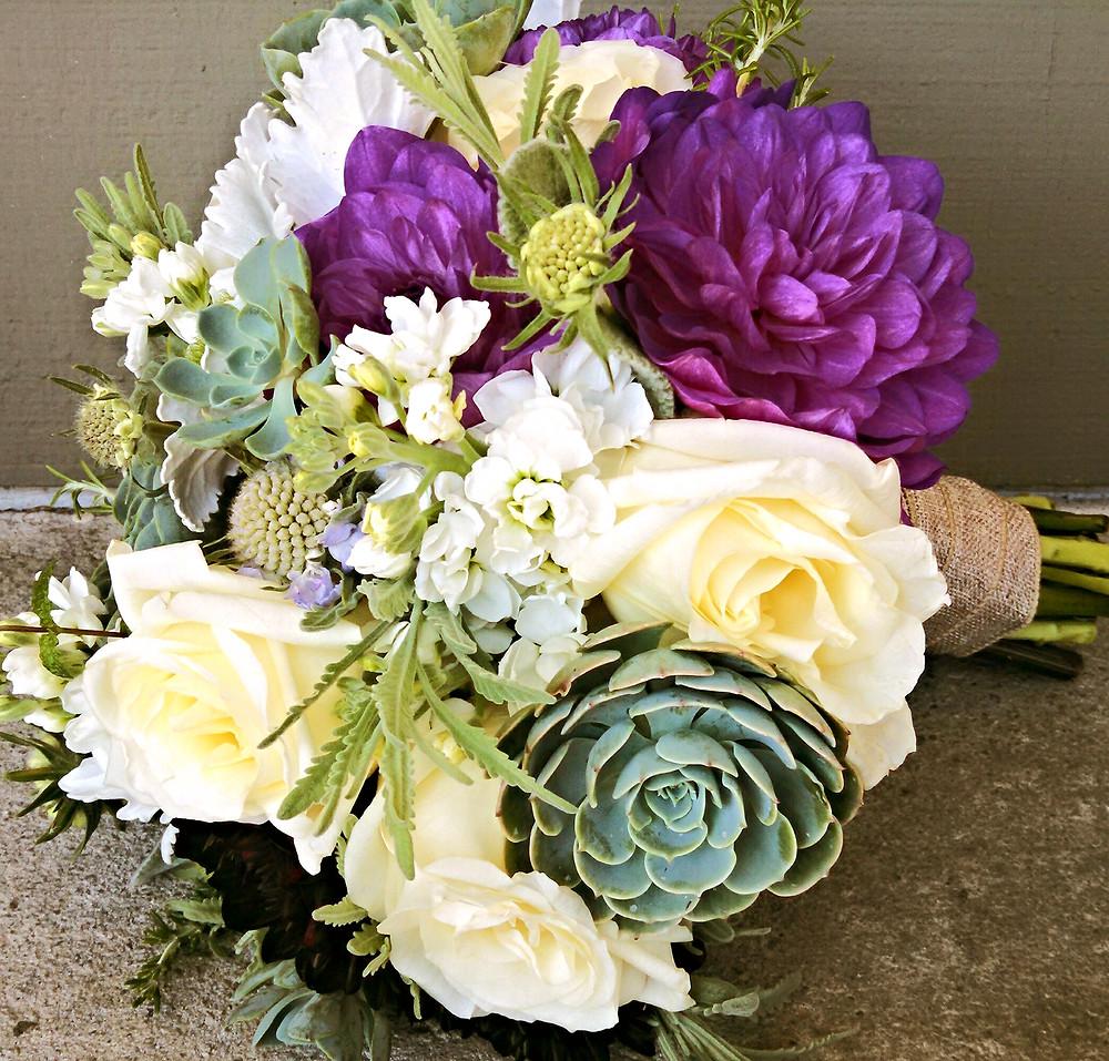 Bouquet by Visual Impact Design | succulent, roses and dahlia bridal bouquet