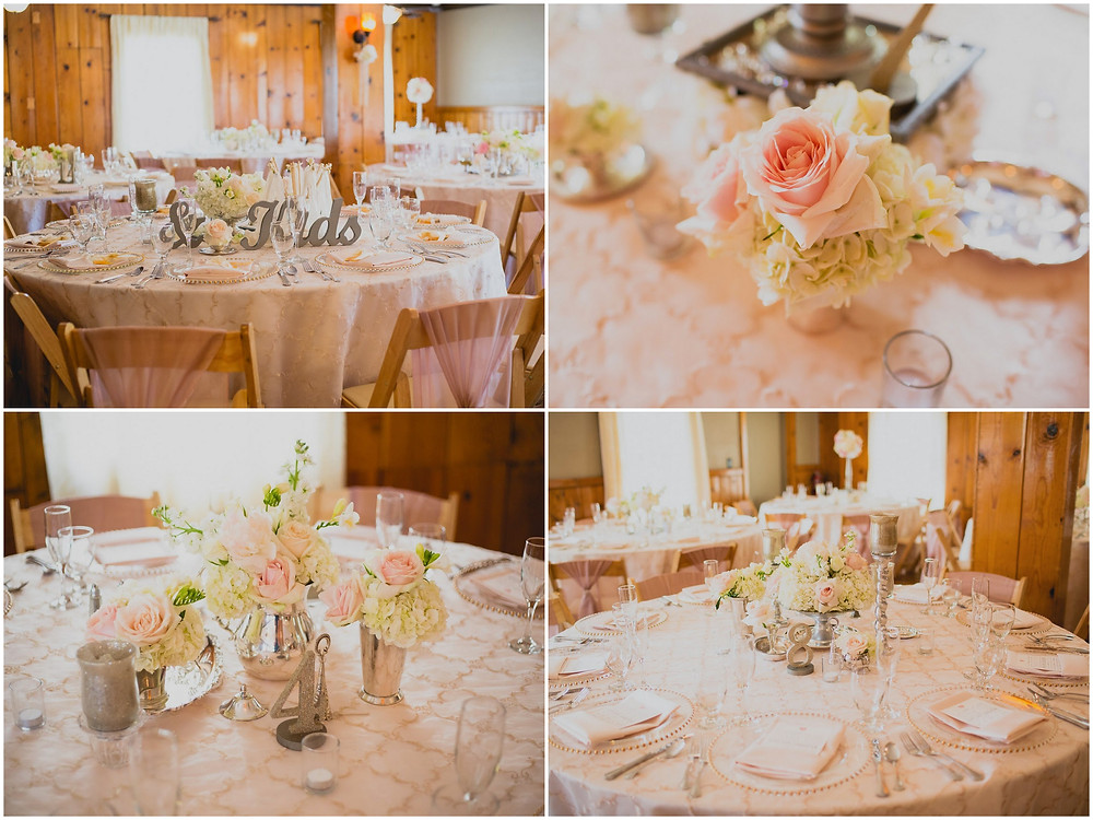 Romantic vintage reception centerpieces by Visual Impact Design. Photography by Sweet Poppy Studios.