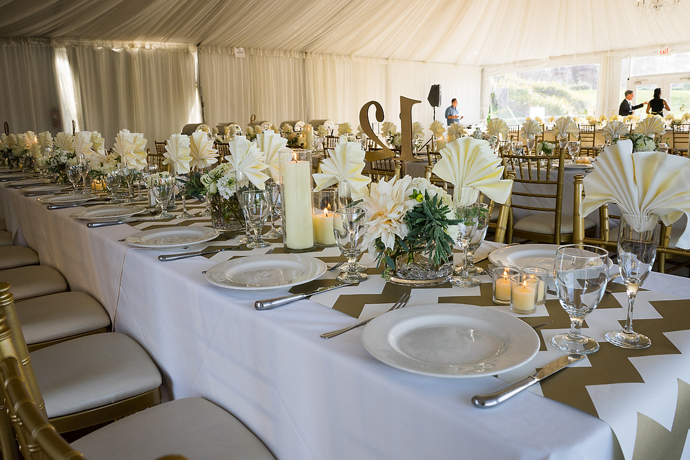 Elegant cream and gold reception tablescape by Visual Impact Design at The Westin Sacramento Scott's on the River. Photo by Mapurunga Photography