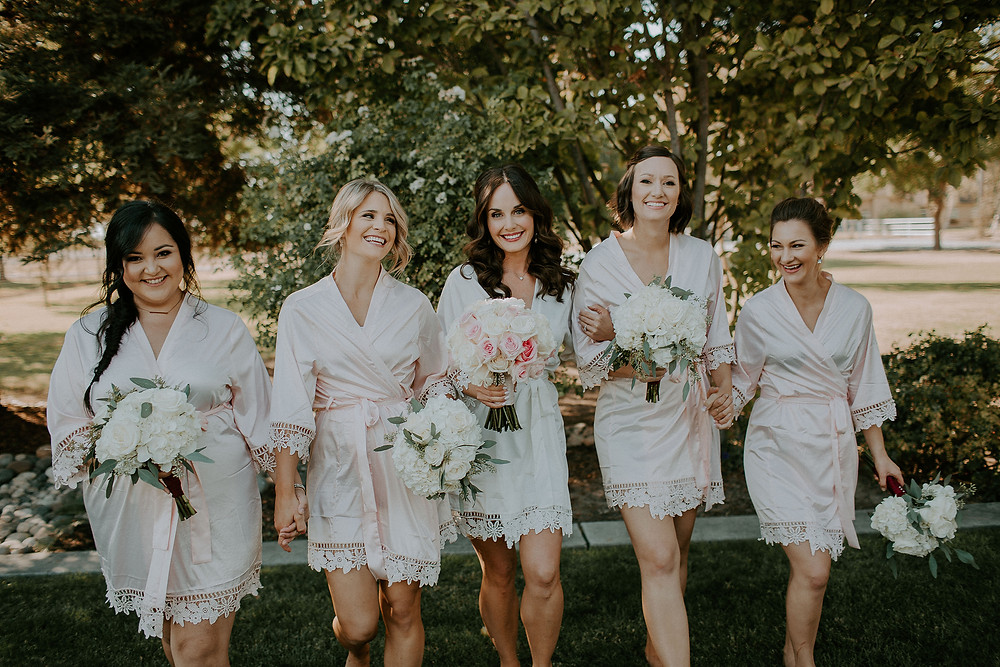 """Bride & Bridesmaids in cute """"getting ready"""" robes, Bouquets by Visual Impact Design 