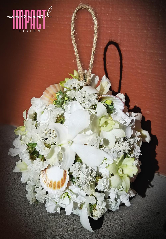 Ocean inspired flower girl floral and shell ball