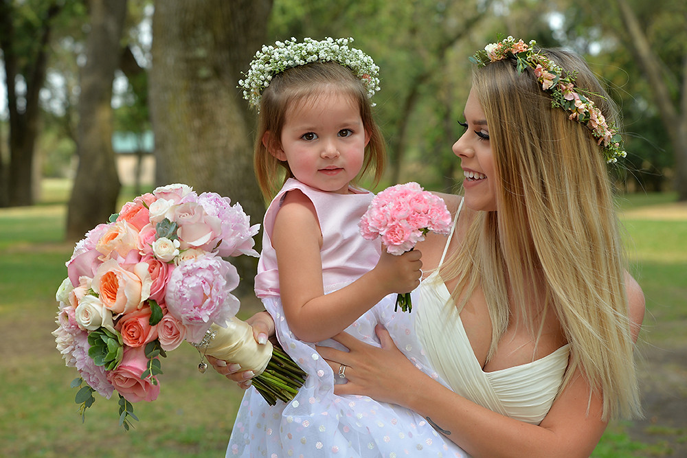 Bride and Flower girl | Florals by Visual Impact Design | Ryan Lazalier Photo