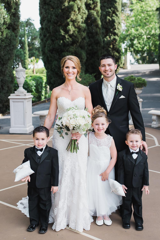 Bride, groom, flower girl & ring bearers | Visual Impact Design wedding flowers | Custock Photography