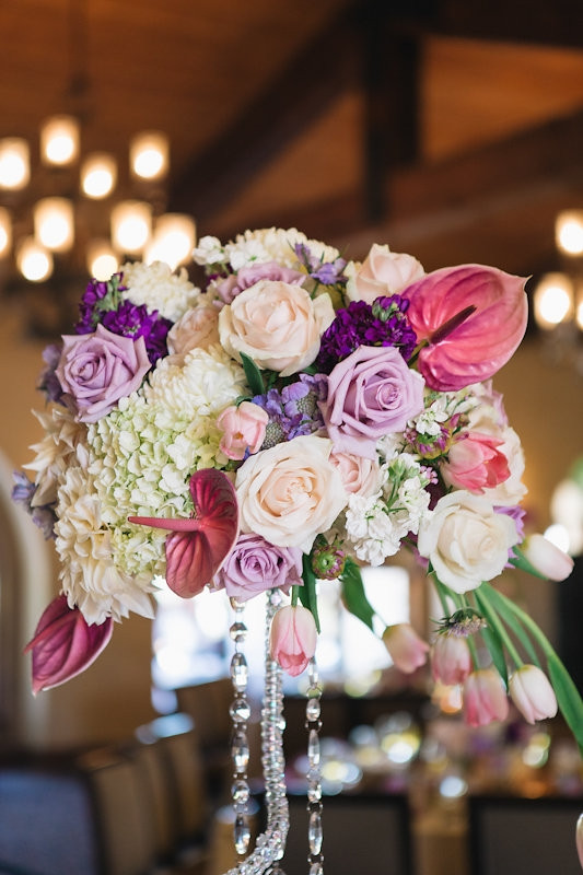 Catta Verdera reception | cream, blush and violet crystal centerpiece by Visual Impact Design wedding florist | Codrean Photography