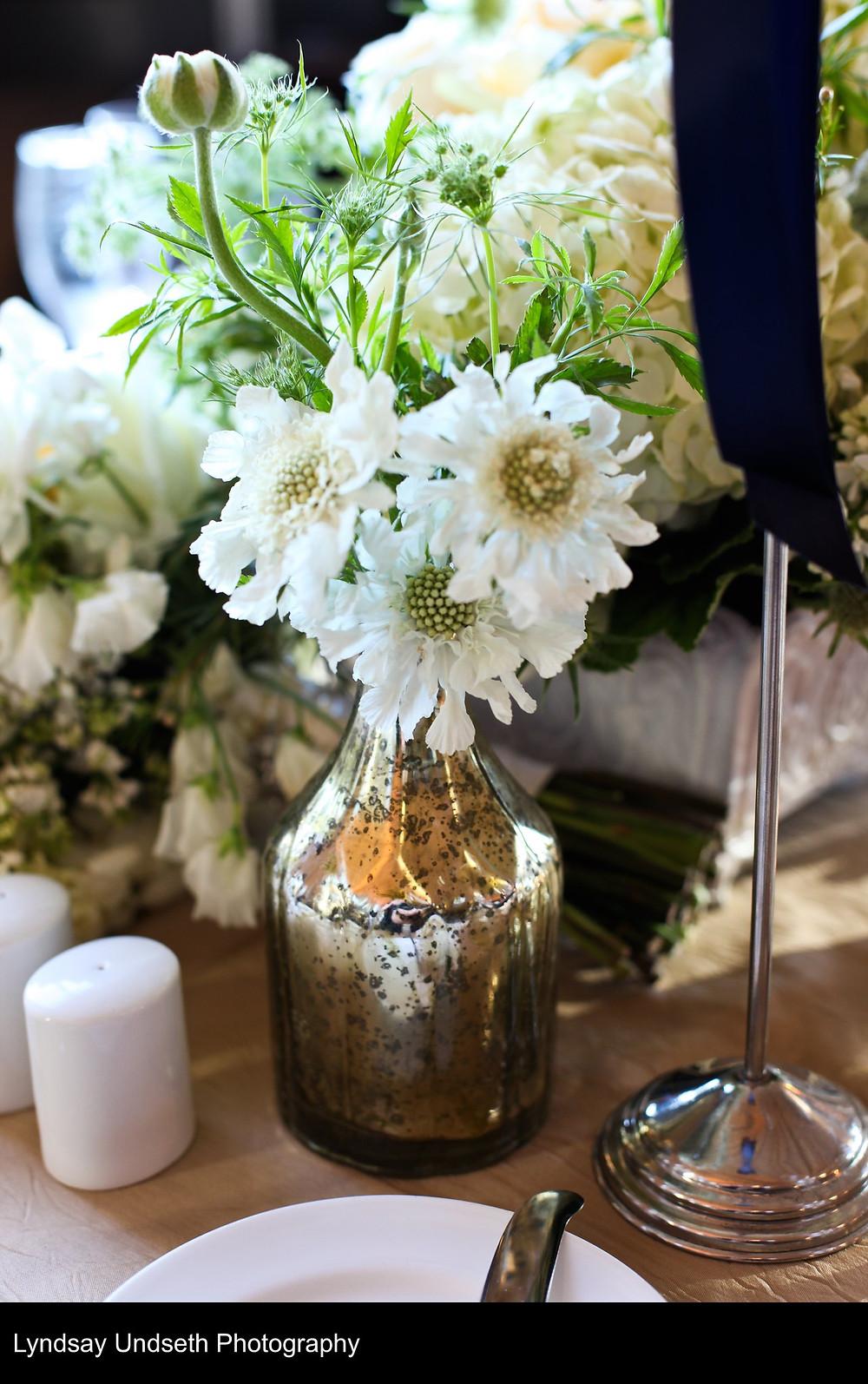 White scabiosa floral arrangement in mercury glass by Visual Impact Design, Sacramento Wedding Florist | Kate Whelan Events | Lyndsay Undseth Photography | Citizen Hotel Wedding Reception