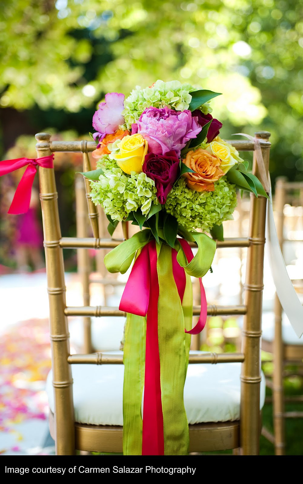 Candy colored wedding with floral design by Visual Impact Design | Chair Floral | Carmen Salazar Photography