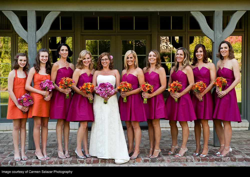 Candy colored wedding with floral design by Visual Impact Design | Bridesmaids and Bridal Bouquet | Carmen Salazar Photography