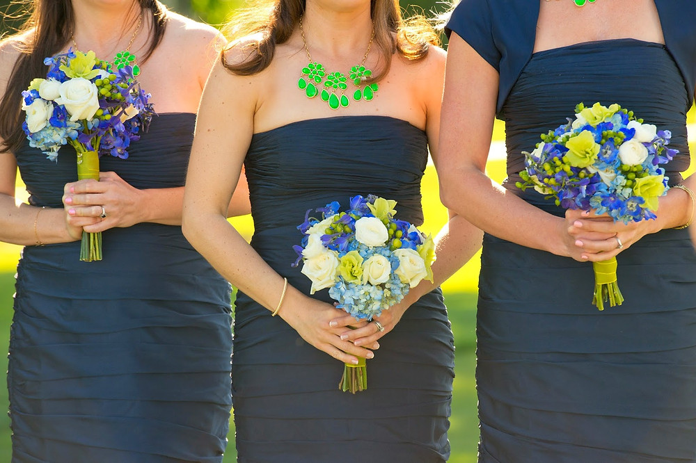 Blue + green peacock wedding flowers by Visual Impact Design  | Del Paso Country Club | Photo by True Love Photo