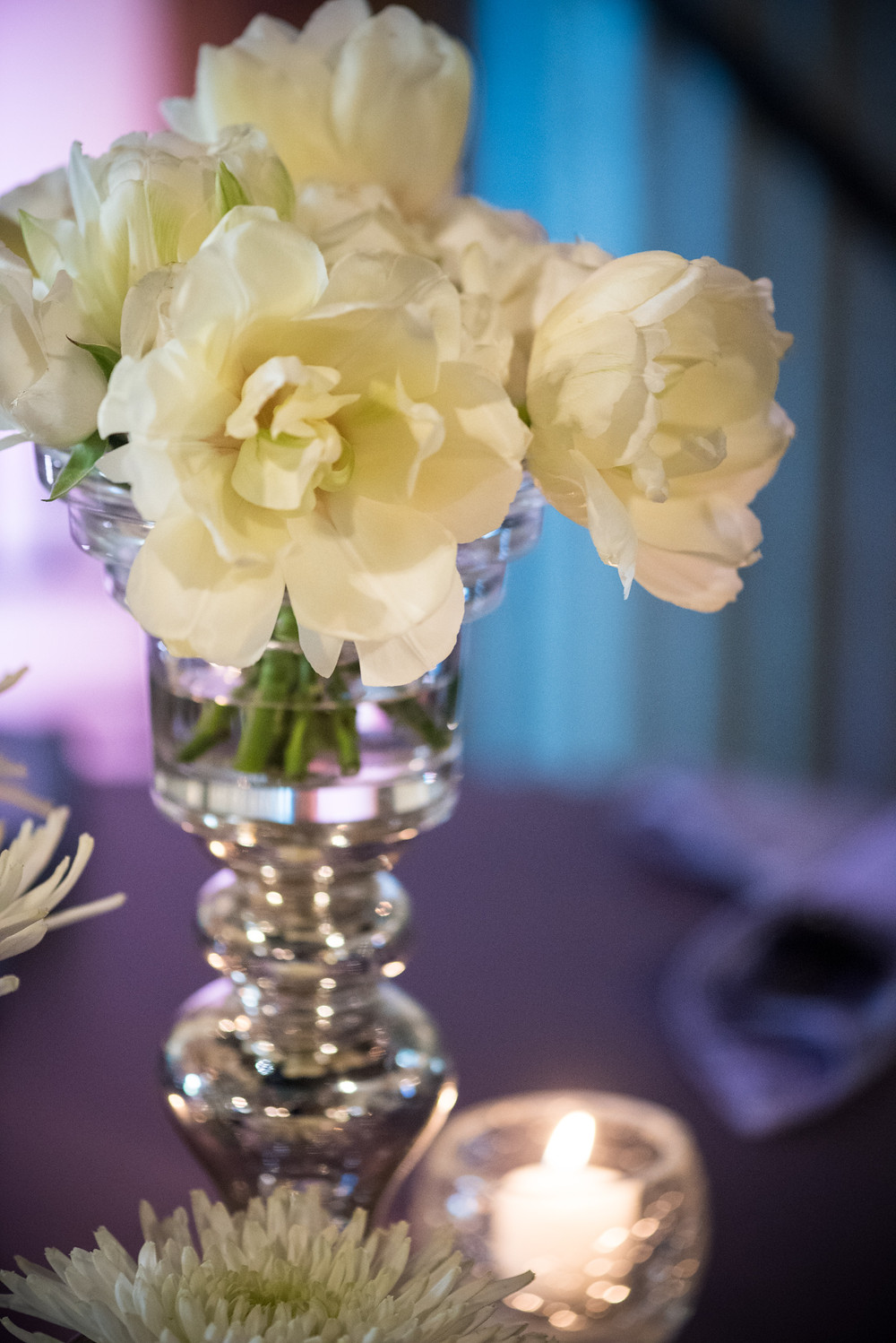 White rose centerpiece  by Visual Impact Design | Photo by Allison Stahl Studio