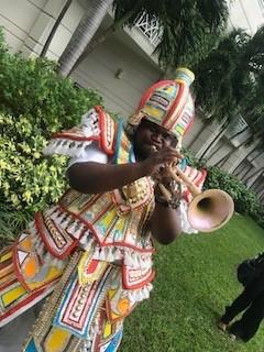 Festive musician with horn