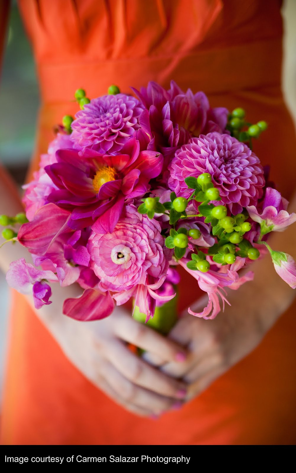 Fuchsia, orange and bright green wedding colors | Bouquet by Visual Impact Design | Carmen Salazar Photography