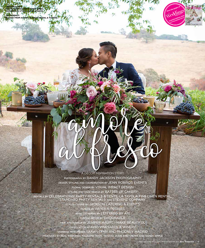 Real Weddings Magazine layout for Amore al Fresco
