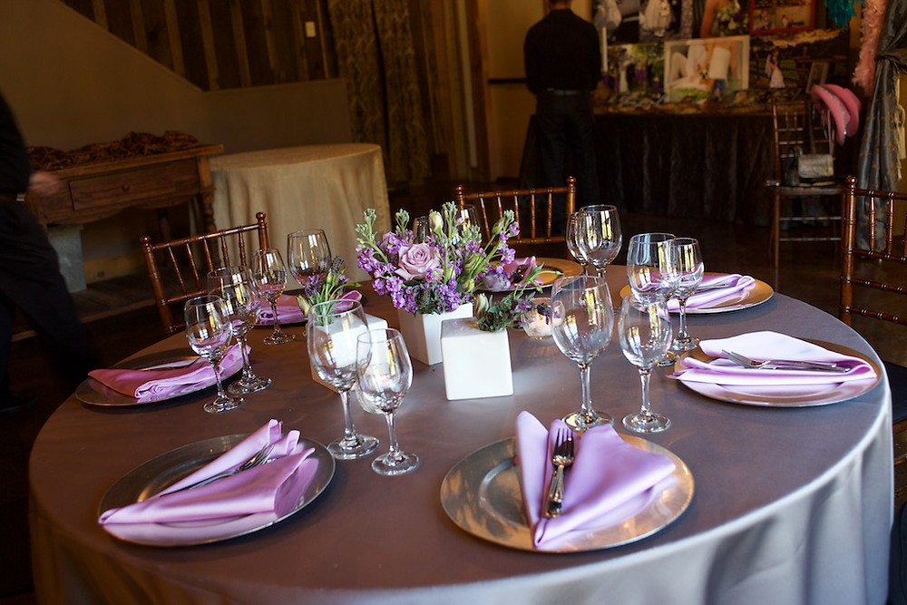 Purple and violet centerpiece by Visual Impact Design | Photo by Sharpe Weddings