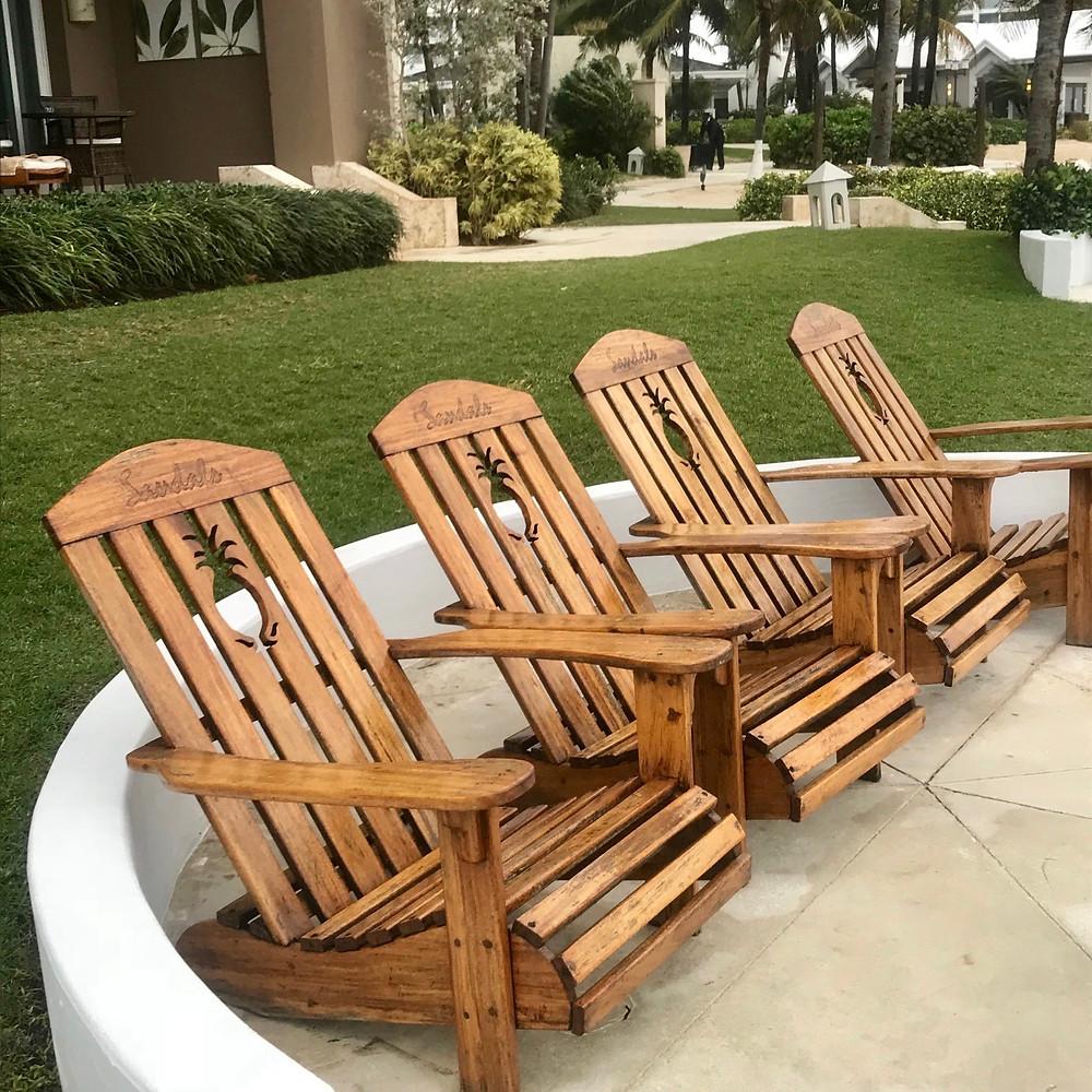 Beach chairs at Sandals Royal Barbados