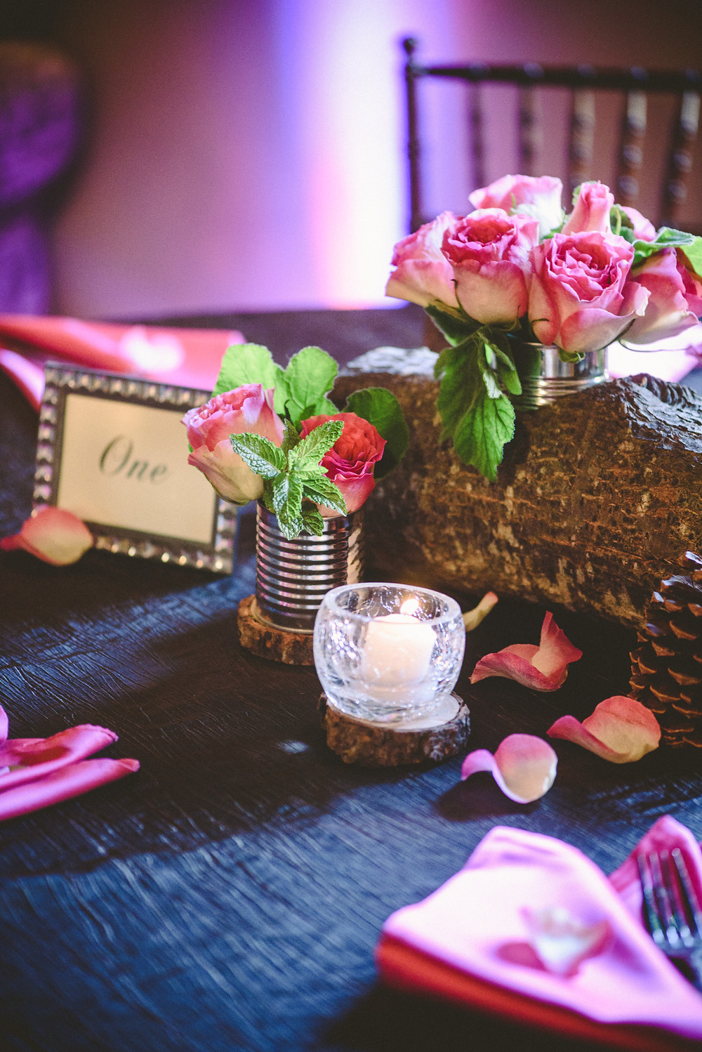 Pink rose bud centerpiece by Visual Impact Design | Photo by Allison Stahl Studio