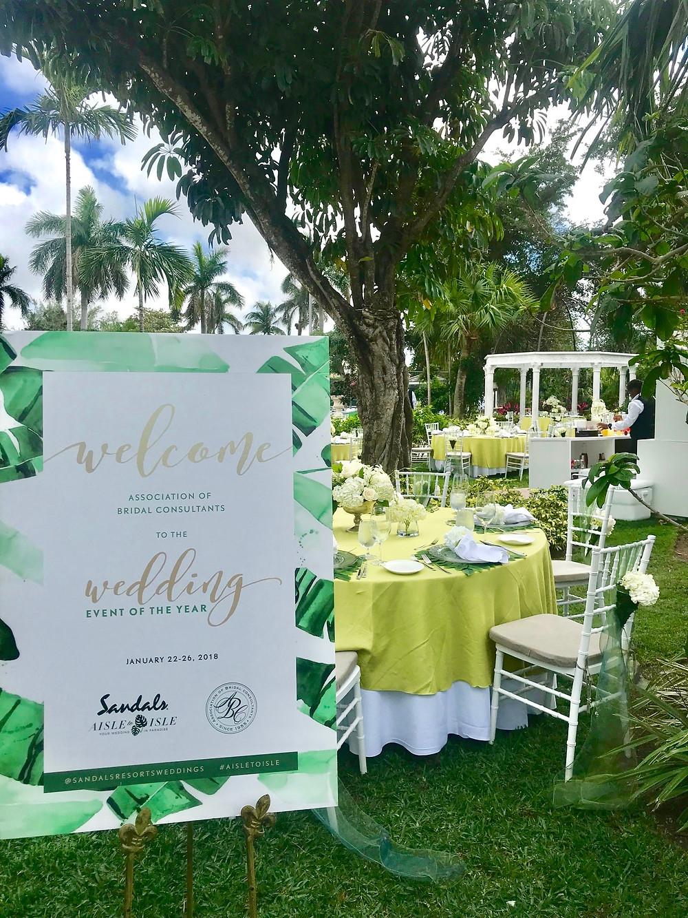 Outdoor reception at Sandals Royal Barbados