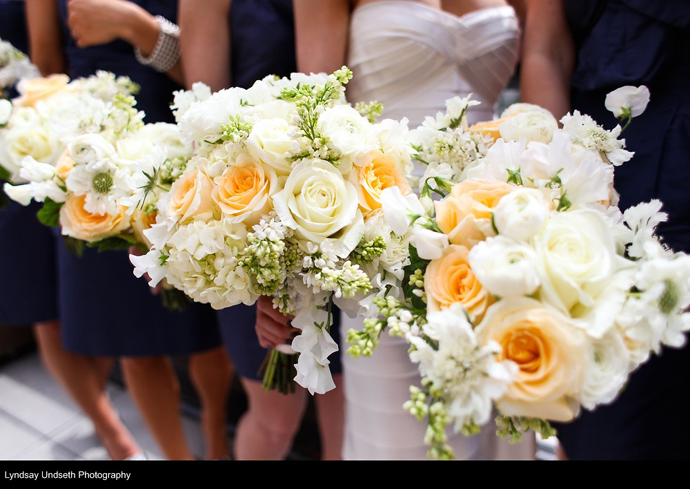 Buttercream, soft apricot and white bouquets by Visual Impact Design, Sacramento Wedding Florist | Kate Whelan Events | Lyndsay Undseth Photography