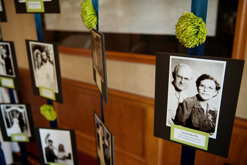 Reception photo display with green mums by Visual Impact Design | Del Paso Country Club | Photo by True Love Photo