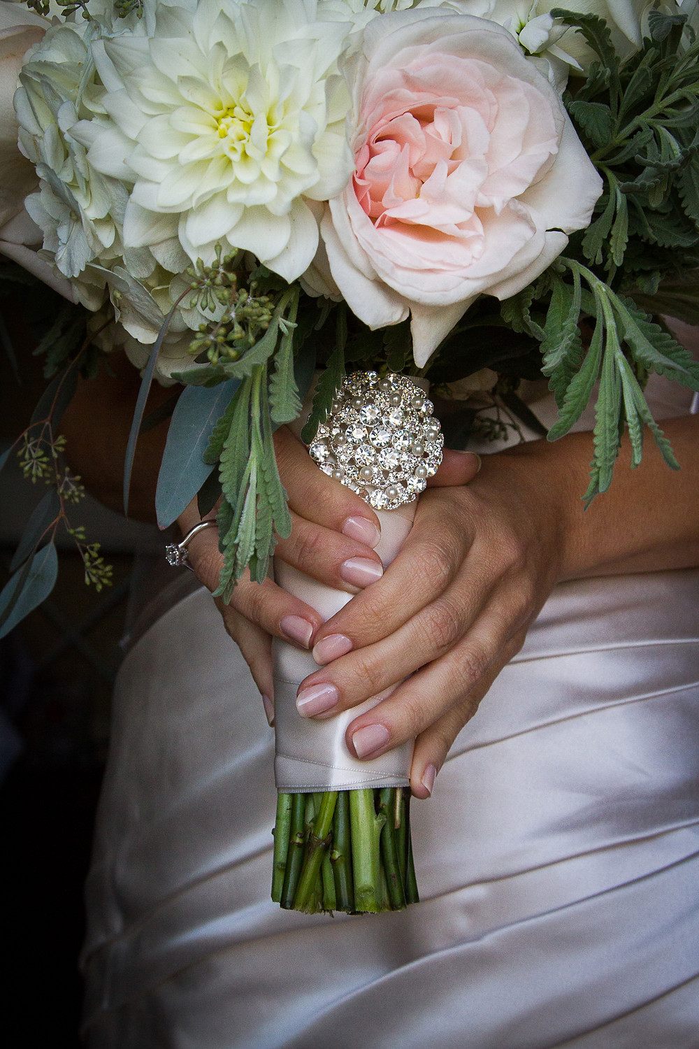 Vintage elegant blush pink, cream and green bridal bouquet by Visual Impact Design. Photo by Mapurunga Photography