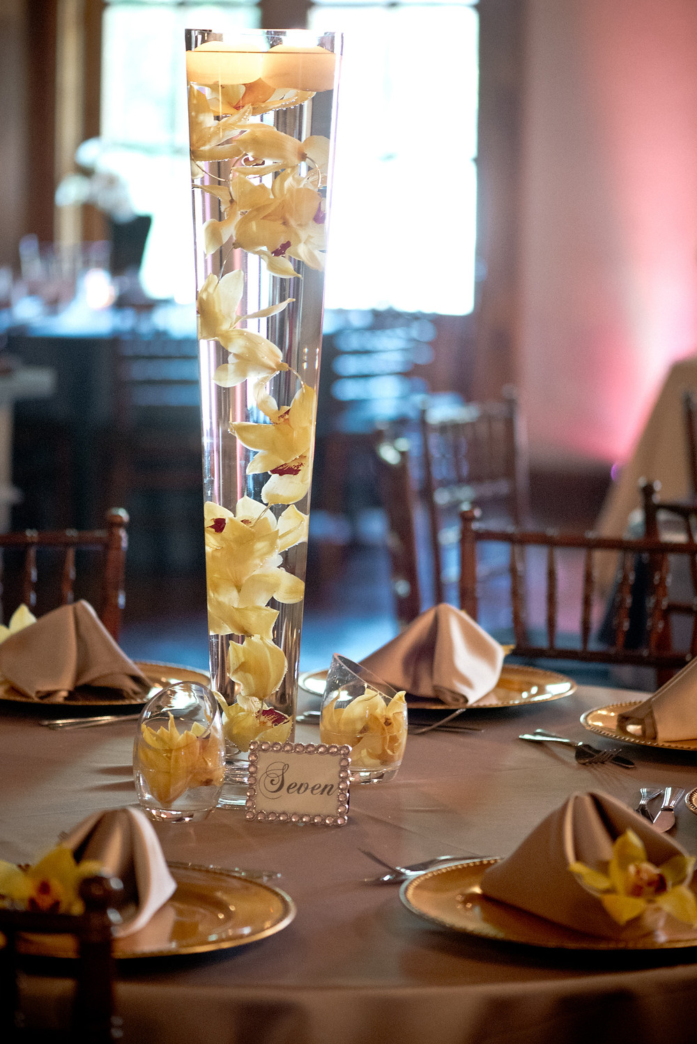suspended orchid centerpiece by Visual Impact Design | Photo by Allison Stahl Studio