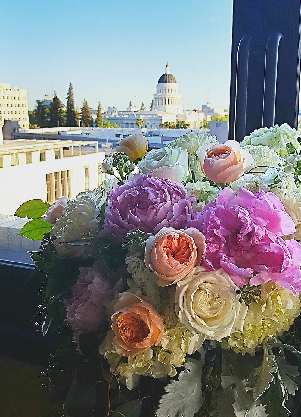 romantic floral arrangement by Visual Impact Design Sacramento CA