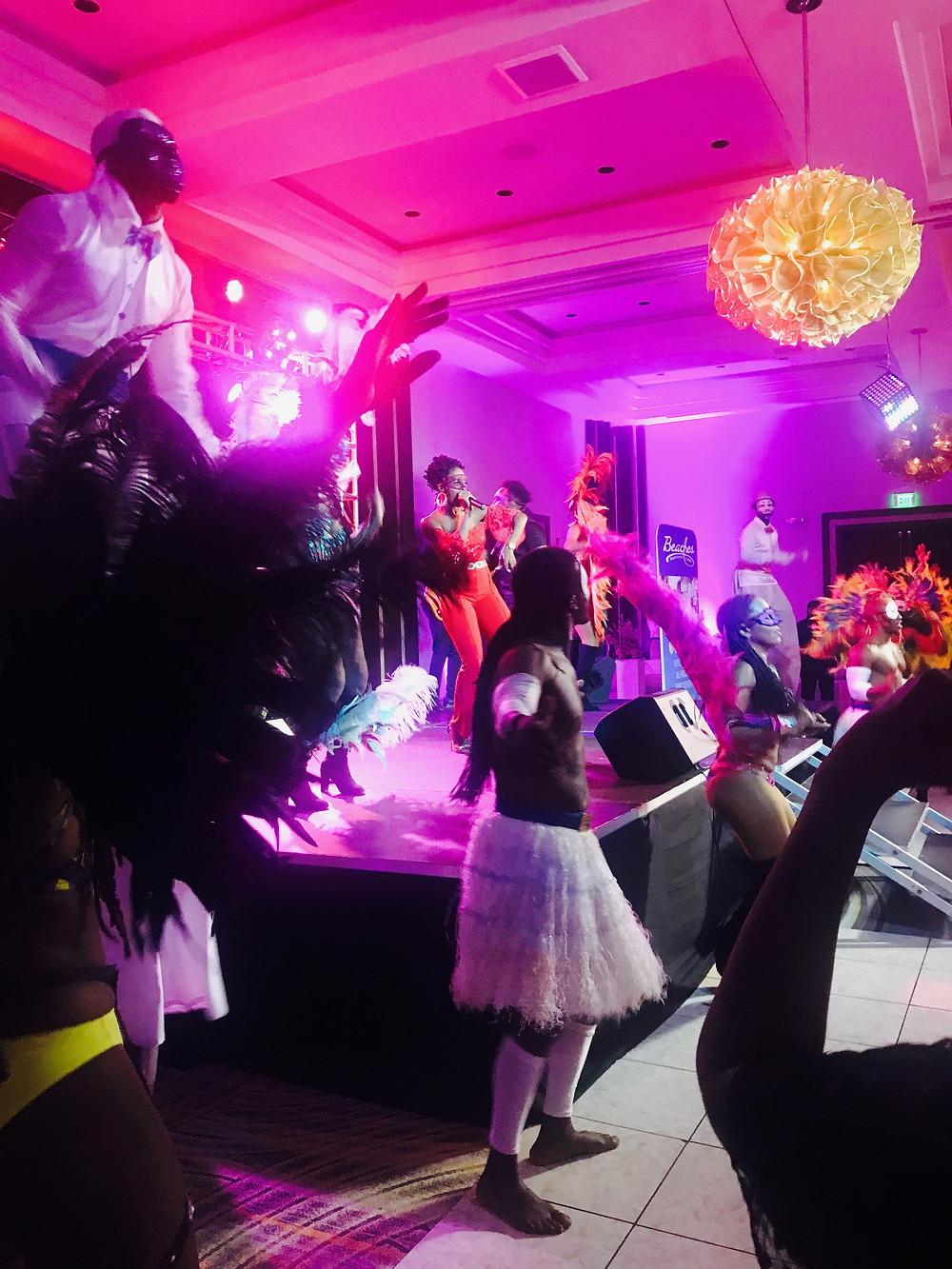 Indoor masquerade party at Sandals Royal Barbados