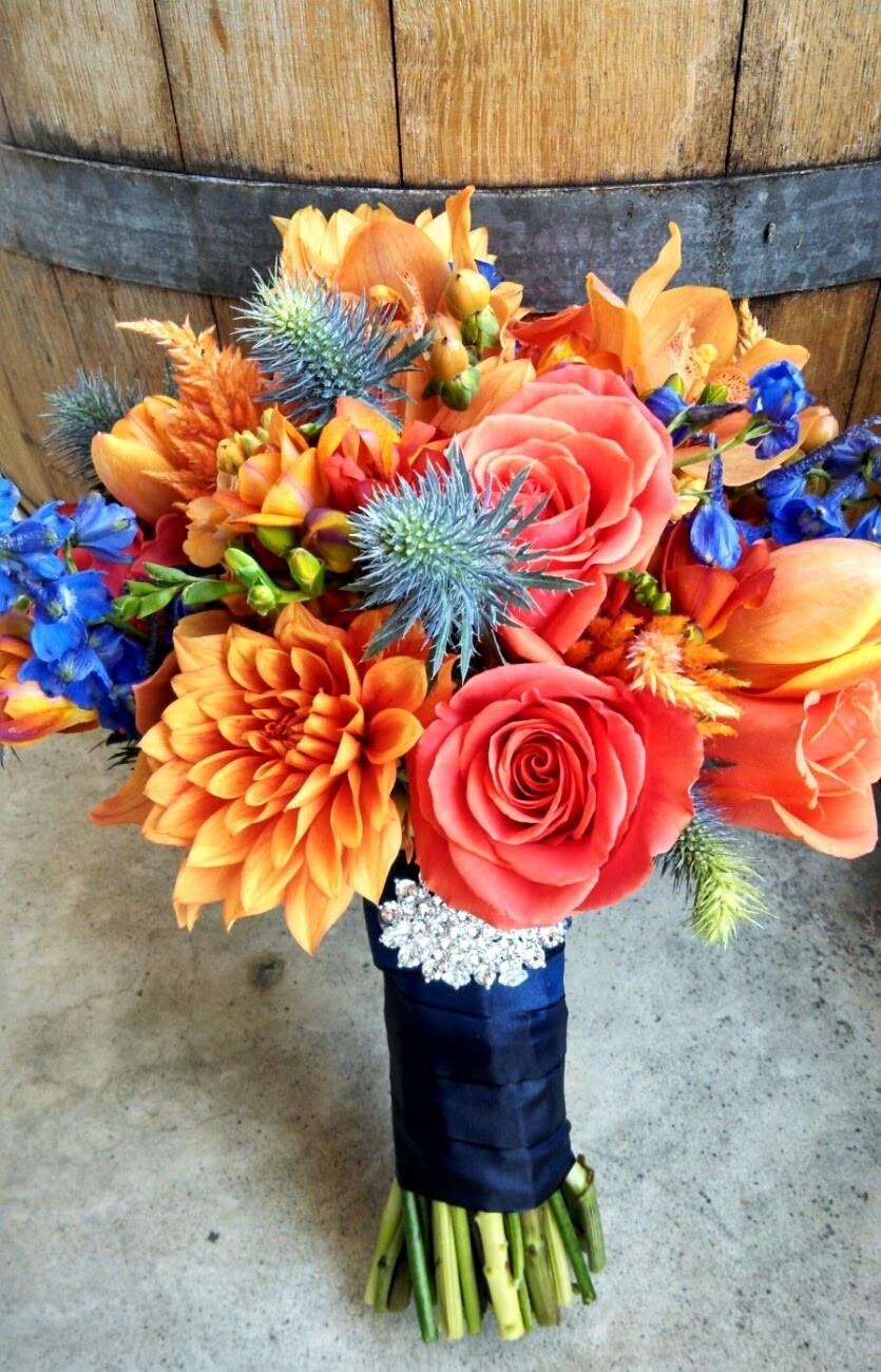 Bridal Bouquet by Visual Impact Design | orange, apricot, blue