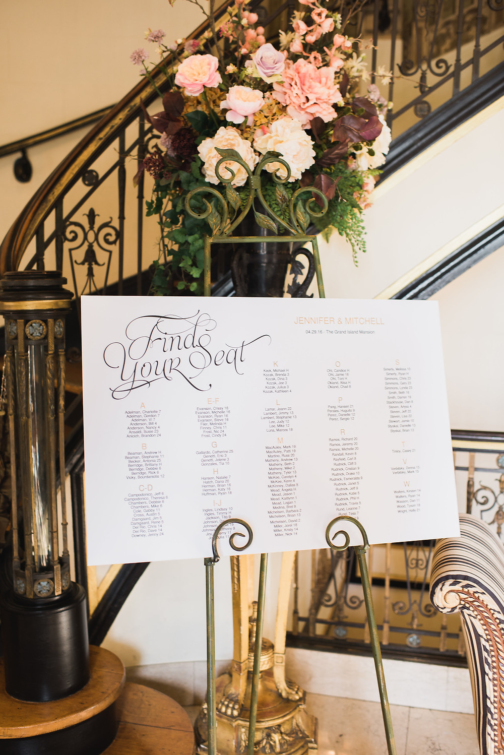 Seating Chart | Visual Impact Design wedding flowers | Custock Photography