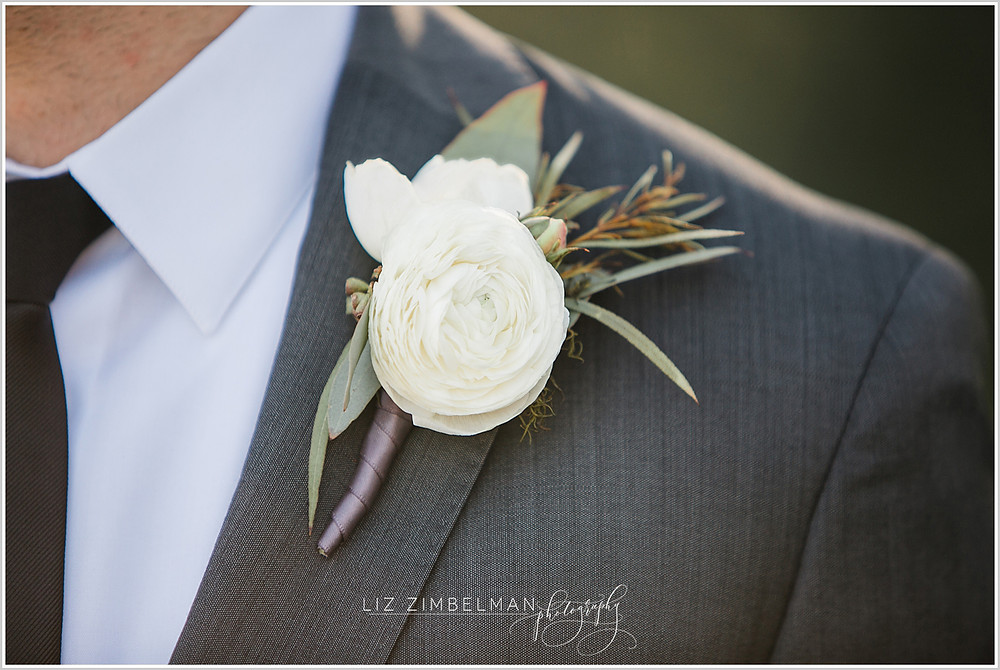 Close up of boutonniere