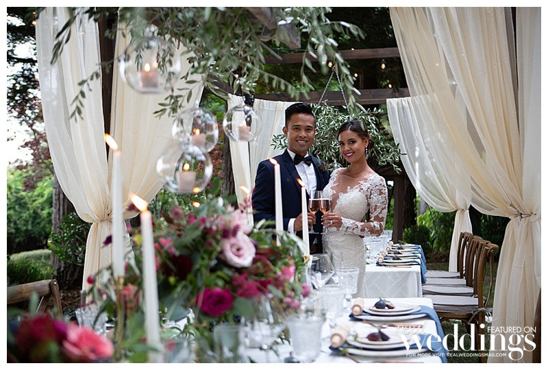 Bride and groom at guest's dining table