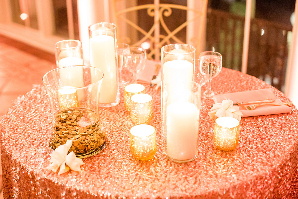 White candles at reception