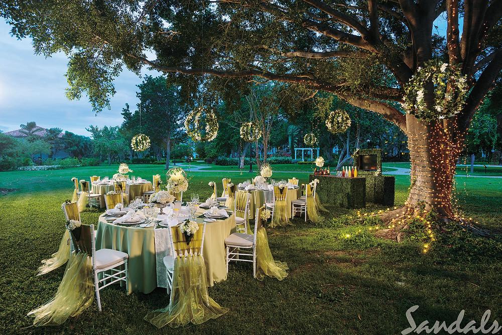 Outdoor reception tables Sandals Royal Barbados