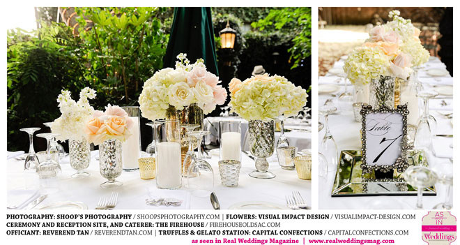 Soft romantic wedding centerpiece by Visual Impact Design | Shoop's Photography | The Firehouse in Old Sacramento