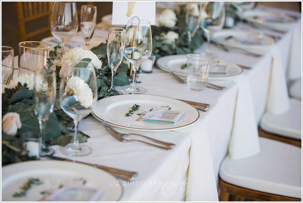 Multiple place settings at reception