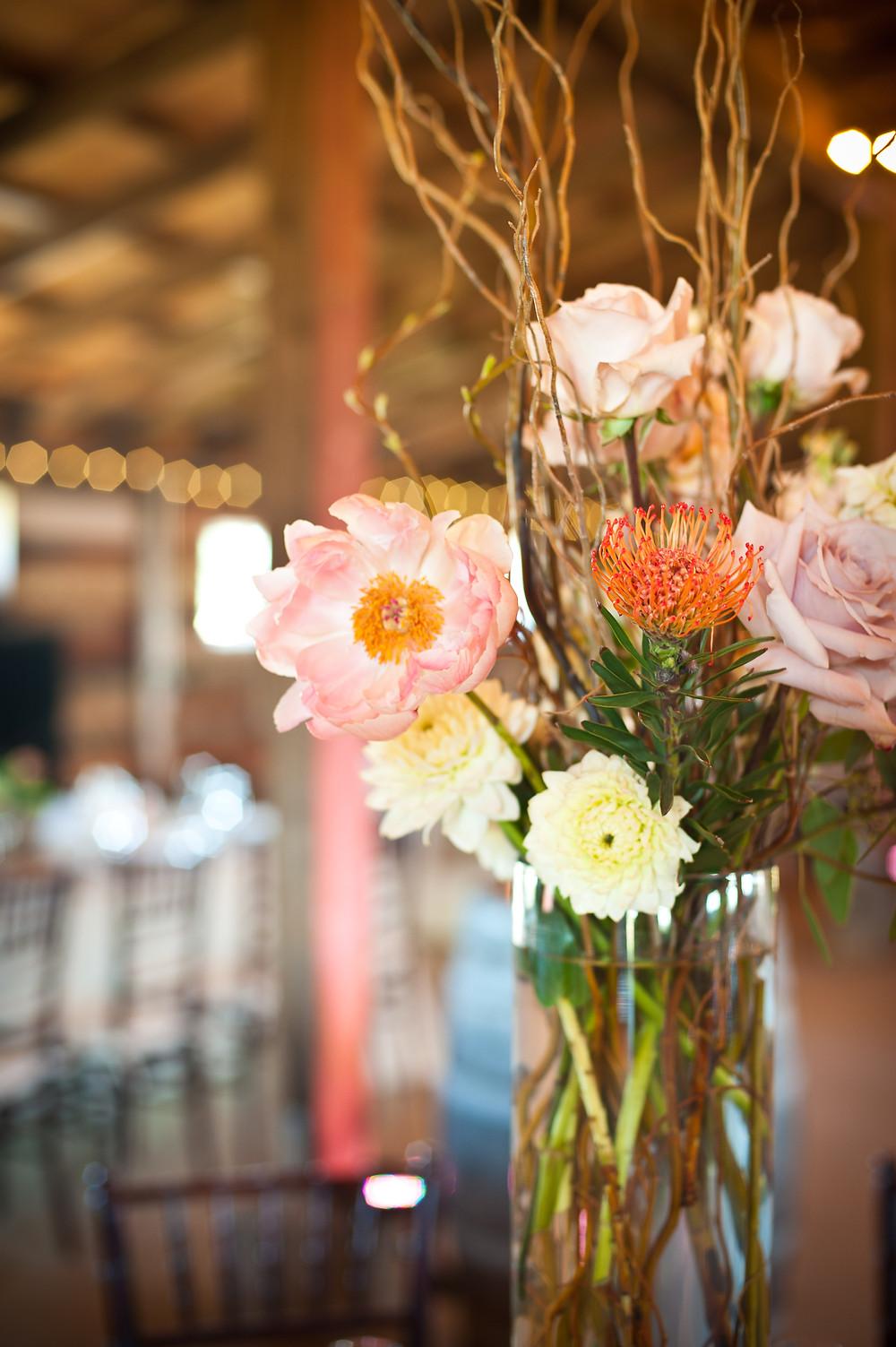 Country Chic Wedding - Rustic Reception Centerpiece Flowers by Visual Impact Design - Michelle Blair Photography