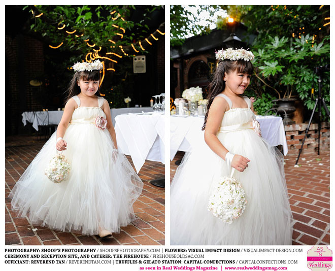 Flower Girl carries pomander by Visual Impact Design | Shoop's Photography | The Firehouse in Old Sacramento