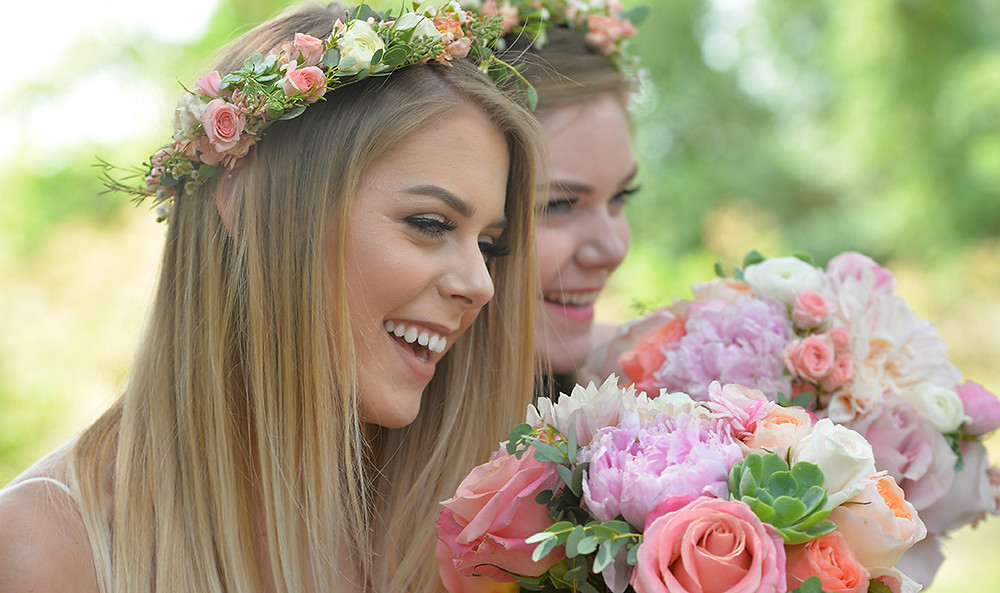 Bride and bridesmaids wearing floral crowns by Visual Impact Design | Ryan Lazalier Photo