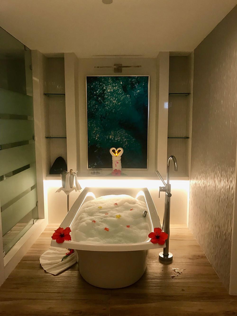 Romantic bathtub drawn at Sandals Royal Barbados