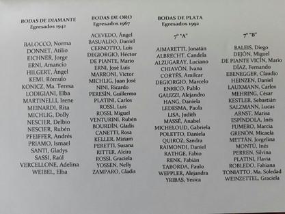 Egresados 1942 _ 1967 _ 1992 de la Escuela Primaria